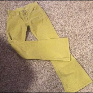 Chartreuse boot cut corduroy jeans